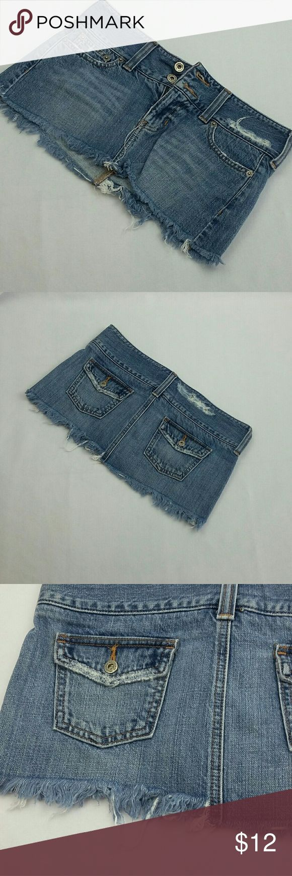 """Hollister Jean Mini Skirt Distressed 3 Hollister Jean Mini Skirt Distressed, sz 3 Cut off , wash worned out .   10"""" length 31"""" waist  Good pre-owned condition  XNO TRADES XNO HOLDS   Bundle for extra savings!   I love any reasonable offers!   0188 Hollister Skirts Mini"""