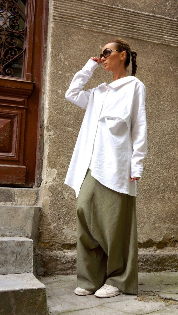 NUOVA collezione sciolto verde oliva lino Harem Pants / goccia stravagante cavallo verde oliva pantaloni pantaloni stravaganti da AAKASHA A05131