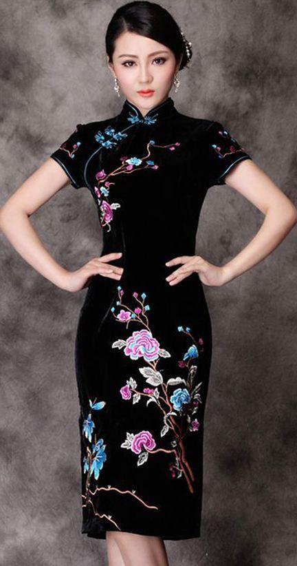 Velvet Embroidery Floral Short Cheongsam Dress                                                                                                                                                     More