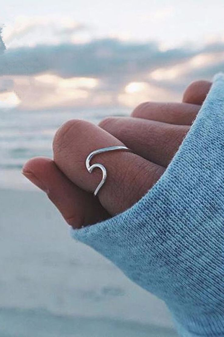Malibu Cute Minimalist Surf Wave Beach Ocean Ring