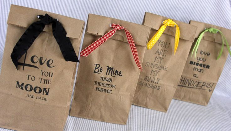 """How to print on brown paper bags tutorial. Imagine the possibilities!! Gift bags, party favors, school lunches, etc. """"Brown paper packages tied up with string these are a few of my FAVORITE things!"""""""