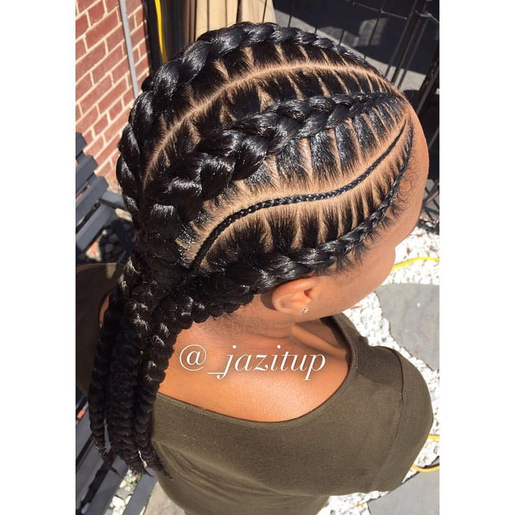 Braids By : Jazitup Four piece Jumbo and tinny feed-in braids, with lovely detailing by Jazitup. Get your stylist to try it on you. Happy New Week Everyone!