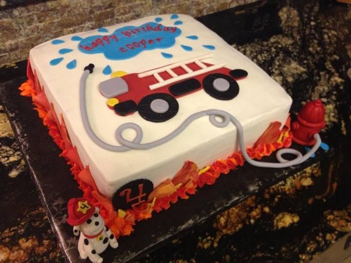 Fire truck birthday cake... - Buttercream with fondant details.