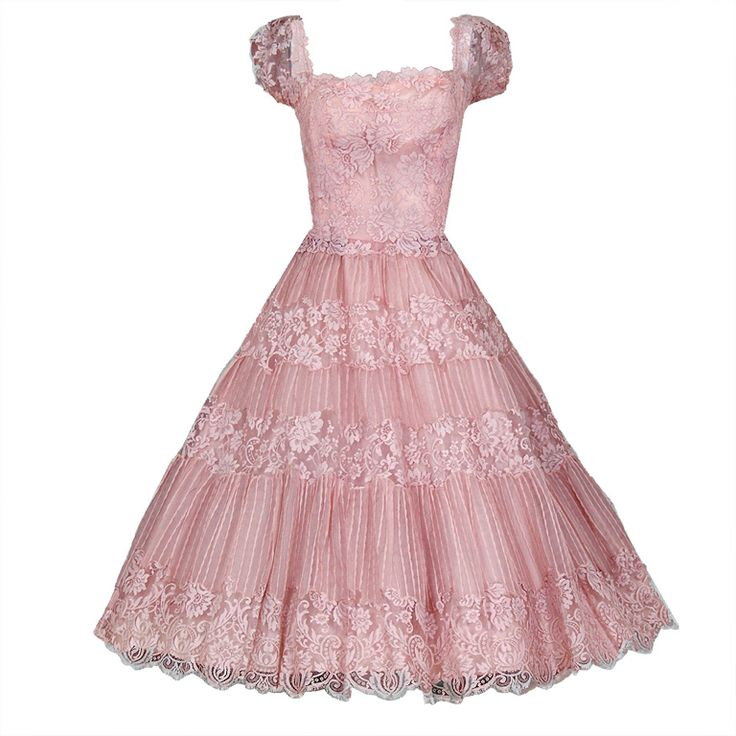 1950's Ceil Chapman Champagne-Pink Organza & Lace Party Dress