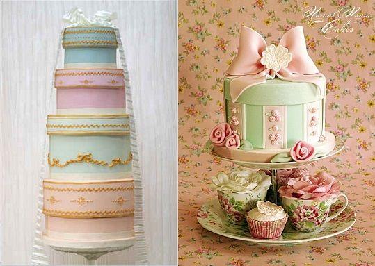 Vintage hat box wedding cake by Rosalind Miller Cakes (left) and hat box cake by Nana Nana Cakes (right)