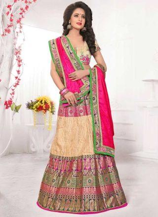Pink Beige Embroidery Work Banarasi Silk Fancy Designer Wedding Lehenga Choli http://www.angelnx.com/Lehenga-Choli/Designer-Lehenga-Choli