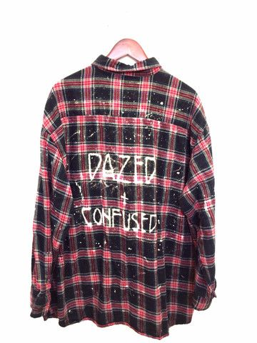 """Led Zeppelin Shirt - """"Dazed and Confused"""". Plaid Flannel in Black + Red. One of a kind. Unisex. BambiAndFalana.com"""