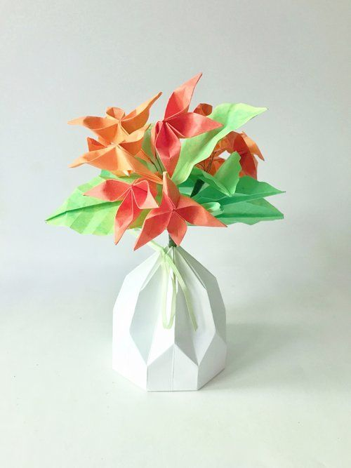 Origami small flower vase origami tutorial lets make it 62 best small origami flower arrangements images on mightylinksfo