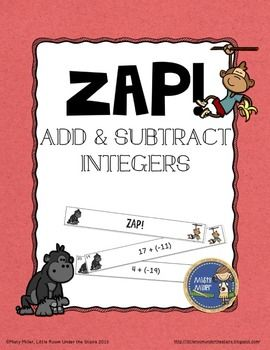 Add & Subtract Integers ZAP is a fun and engaging game where students try to hold on to their strips and not get ZAPPED. The game contains 20 cards with adding & subtracting integers problems, 4 ZAP cards, directions, a label for your container, and an answer key.  $ gr 5-8