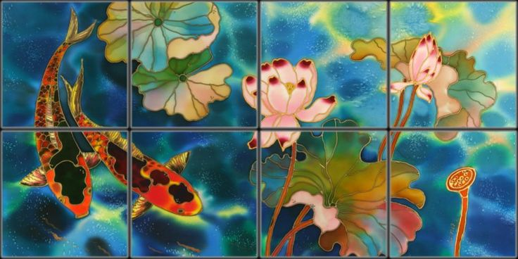 Asian Lotus Flower Tile Mural   Pacifica Tile Art Studio
