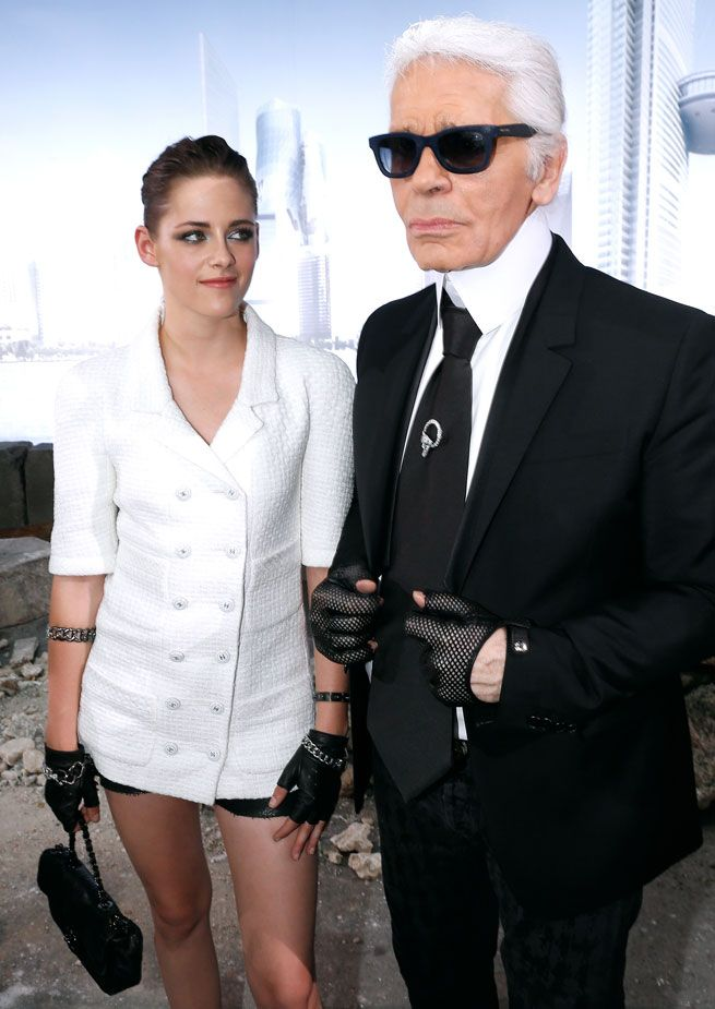 Kristen Stewart Channels Karl Lagerfeld At The Chanel Couture Show