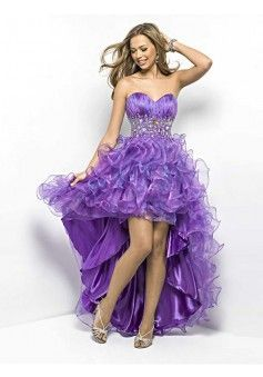 Ball Gown Sweetheart Organza Lavender Long Prom Dresses/Evening Dress With Rhinestone #WX024