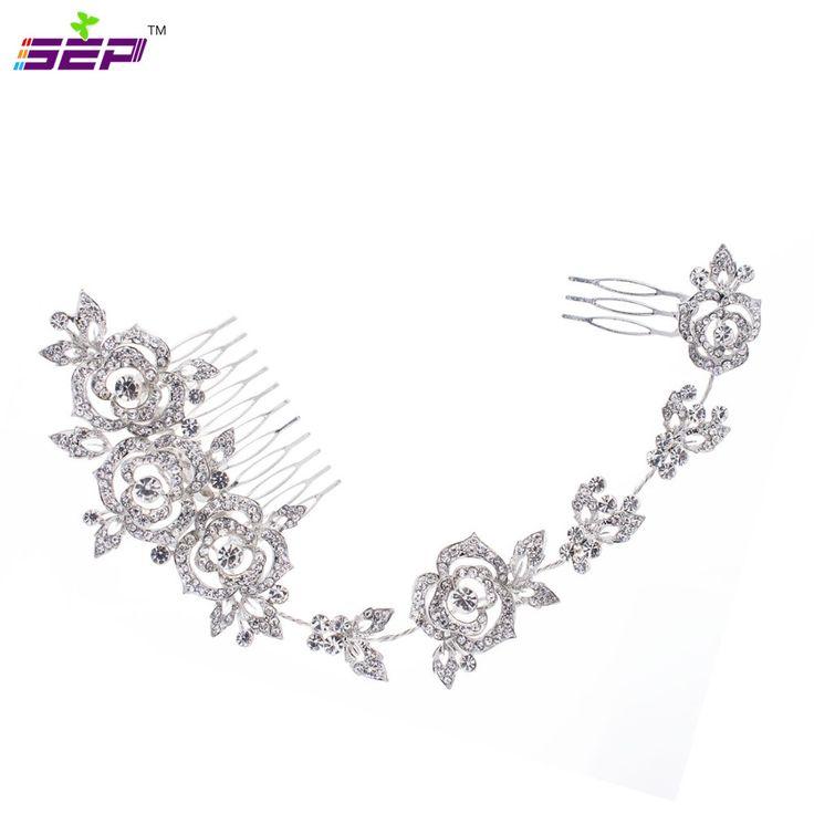 Rose Flower Rhinestone Long Hair Combs Hairpins Girl Hair Pin Head Jewelry for Women Bridal Wedding Head Accessories 201591