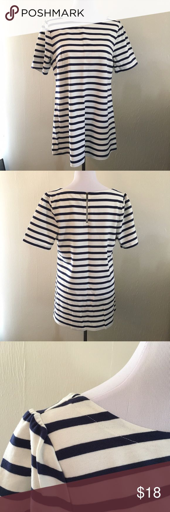 NWOT Old Navy Maternity Short Sleeve Stripe Tunic BRAND NEW. Perfect condition, never worn. Old Navy Maternity Navy Striped Tunic in a substantial Cotton with just a tiny bit of stretch. Size Large. Original Retail: $29.99. Ivory and Navy stripes, with slightly ruched sleeve tops, and a cute back zipper. Side darts at the bust. Old Navy Tops Tunics
