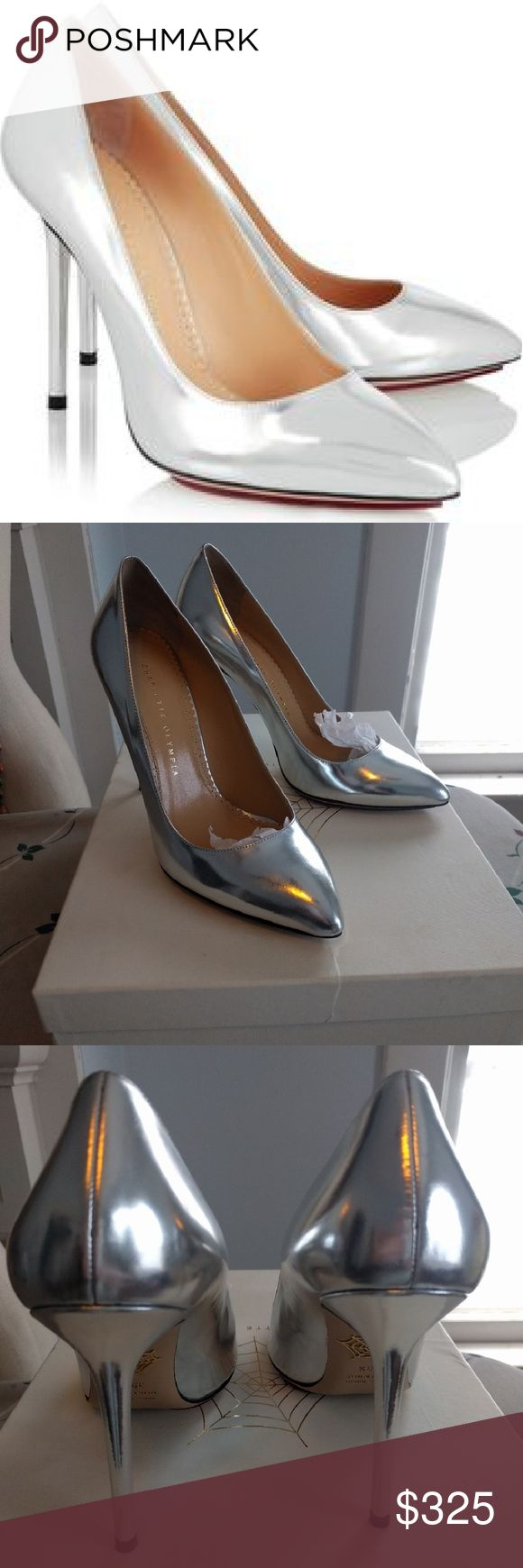 Charlotte Olympia Monroe metallic leather pumps Charlotte Olympia Monroe metallic leather pumps, silver metallic calf, size Italian/eur 39.5, equivalent to size US 9.5. heel is 4.5 inches with .25 island platform.  These run true to size and I would keep but unfortunately I am a size 10. Used just one time for photo shoot. Some dents on bottom leather sole but other than that in excellent condition! Hard to find online and sold out on netaporter. Purchased for full price. Comes w/ orig…