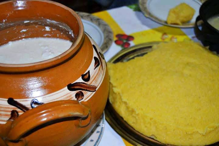 A traditional breakfast from Bucovina. Freshly made Polenta and Sour Milk.