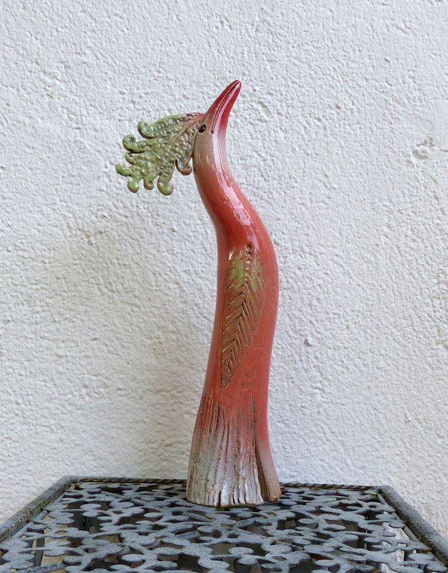 Keramik - Gartenkeramik kleiner PARADIESVOGEL apricot