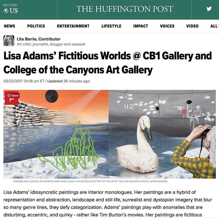 "Check out this wonderful review of Lisa Adams' exhibitions at CB1 Gallery and College of the Canyons Art Gallery. Thank you Lita Barrie and @huffpostarts! .  http://cb1.co/95 . ""Lisa Adams idiosyncratic paintings are interior monologues. Her paintings are a hybrid of representation and abstraction landscape and still life surrealist and dystopian imagery that blur so many genre lines they defy categorization. Adams paintings play with anomalies that are disturbing eccentric and quirky…"