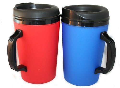 2 ThermoServ Foam Insulated Coffee Mugs 34 oz (1) BLUE & (1) RED New