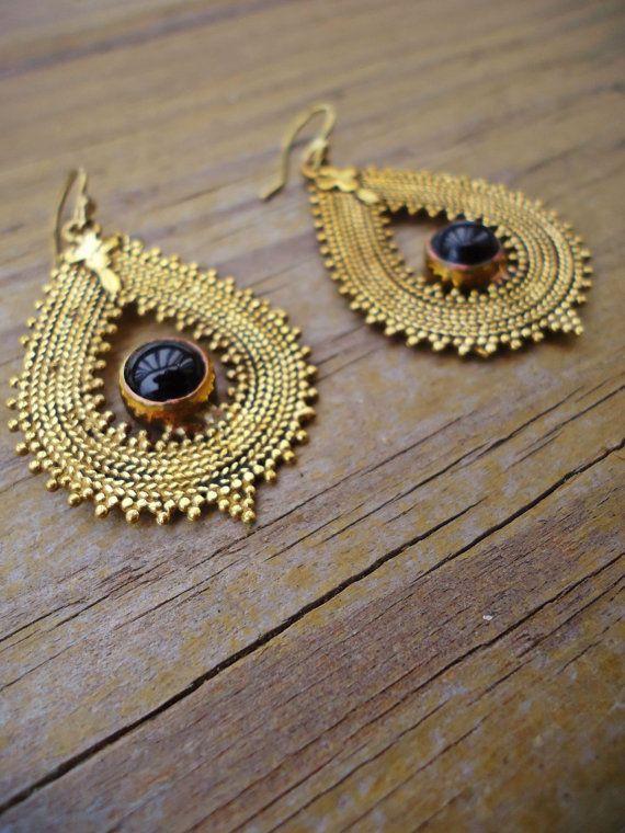 Tribal Indian Earrings- Gold tone aqeeq stone earring- Bohemian Hoop earrings- Ethnic jewelry- Boho jewelry- Indian jewelry