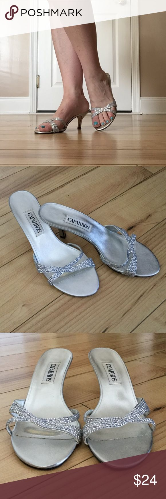 """Silver Sparkly CAPARROS Kitten Heel Dress Sandals! Worn once to a wedding, these comfortable, slip on, 2-1/2"""" heel dress shoes are perfect for any special occasion, party or dance. They are in great pre-loved condition with some sign of wear but a lot of life left in them . Caparros Shoes Heels"""
