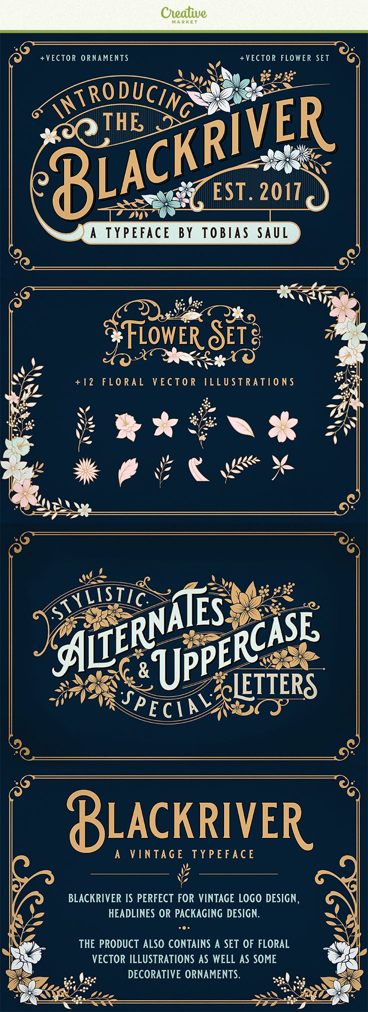 Blackriveris inspired by vintage packaging and advertising from the early 20th century. It is perfect for vintage logo design, headlines or packaging design. The product also includes a set of floral vector illustrations as well as some decorative ornaments. This combination allows you to easily build beautiful vintage designs in a short time. #affiliate