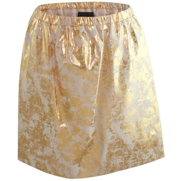 Claire Andrew - Gold Distressed Leather Skirt (€580) ❤ liked on Polyvore featuring skirts, metallic skirt, gold skirt, ripped skirt, brown skirt and gold metallic skirt