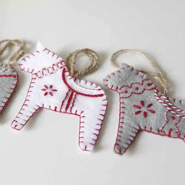 Hand embroidered Scandinavian style Dala textile fabric horses, by Linen and Lisle