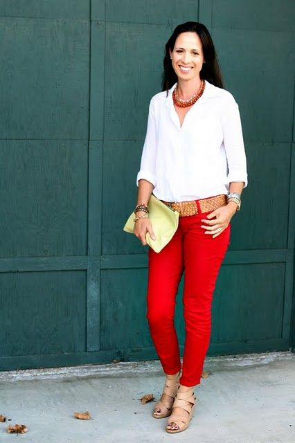 Red pants combos. Ideas how to wear my red pants.