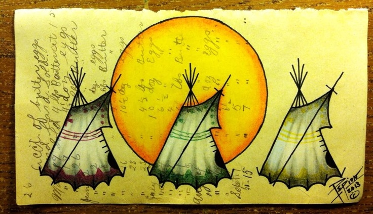 """Pepion Ledger Art: For Sale """"People of the Sun"""" 2013- $75 Check out this very talented Native Artist on Facebook. Pepion Ledger Art"""
