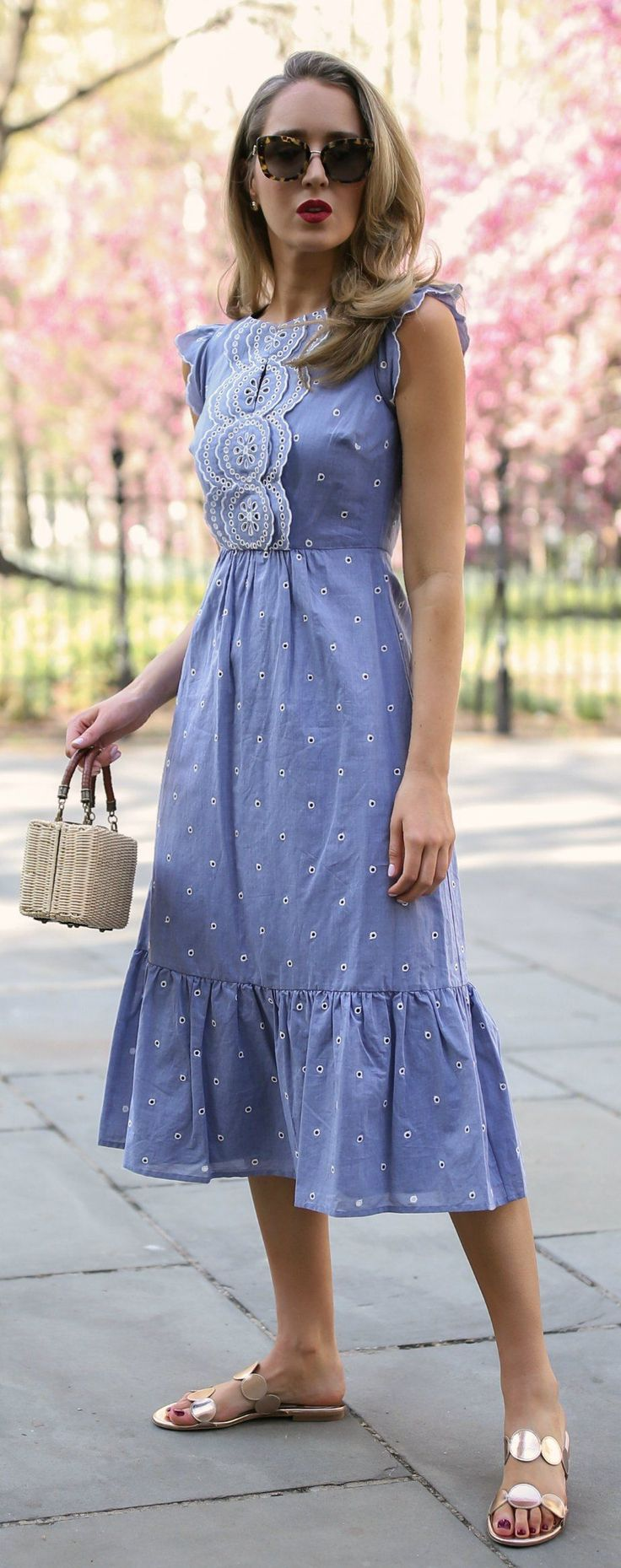 30 Dresses in 30 Days: Garden Party // Light blue contrast broderie anglaise embroidery midi dress, light wicker box bag, metallic dot slides, cat eye sunglasses {Boden, prada, what to wear, summer outfit, spring style, classic}