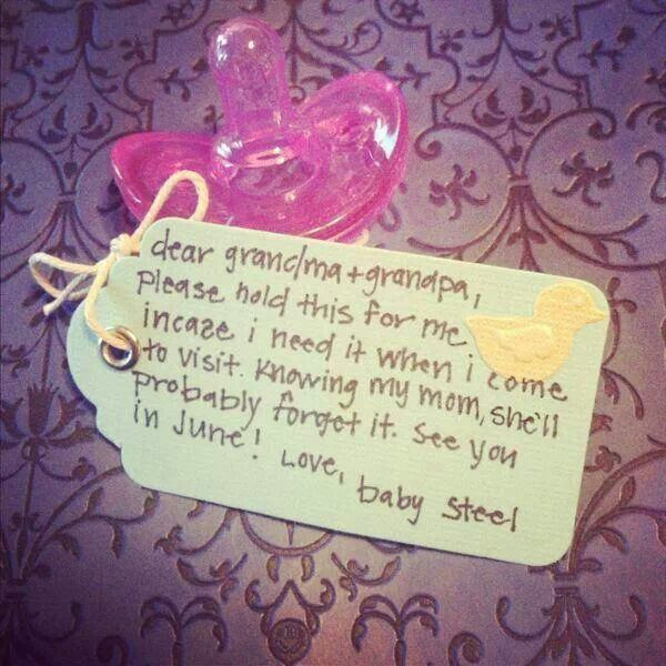 Cute announcement I wouldn't use a pacifier though