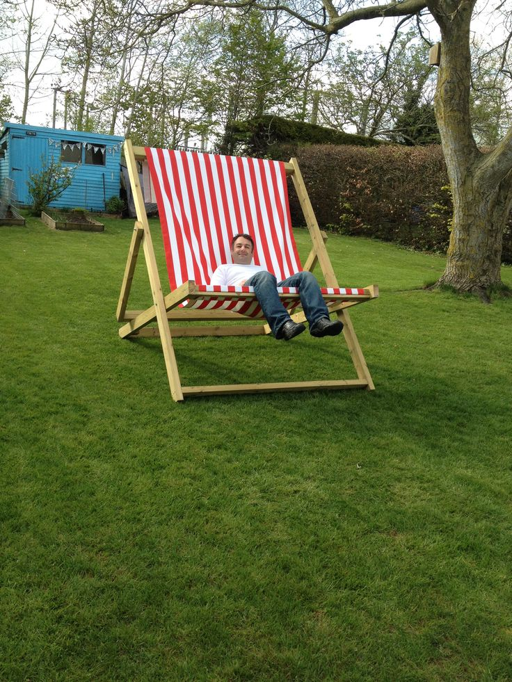 Giant deckchair Beach wedding Seaside themed wedding www.livingthecream.co.uk