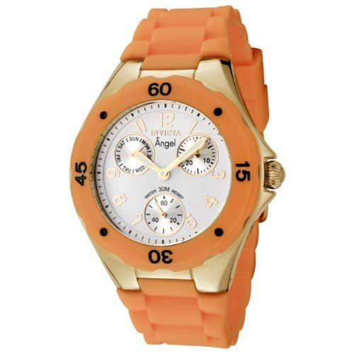 Invicta Womens 0708 Angel Collection Orange Polyurethane Watch ** Read more reviews of the product by visiting the link on the image.