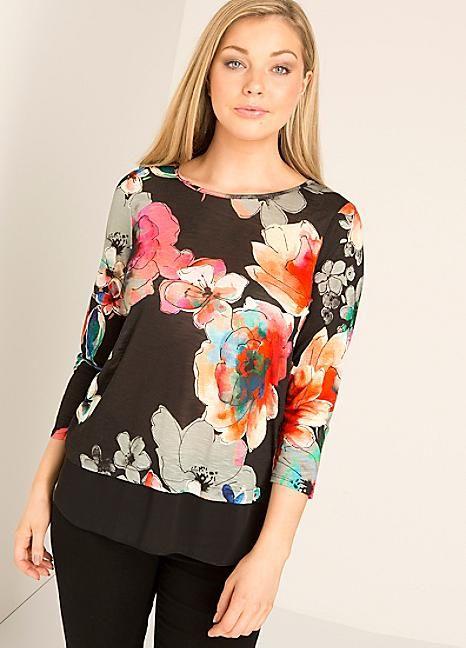 Roman Originals Floral Chiffon Slub Top #Kaleidoscope #Floral #LoveFloral #Fashion #Style