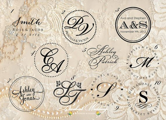 Wedding embossing seal wedding monogram embosser by LovebirdDesign