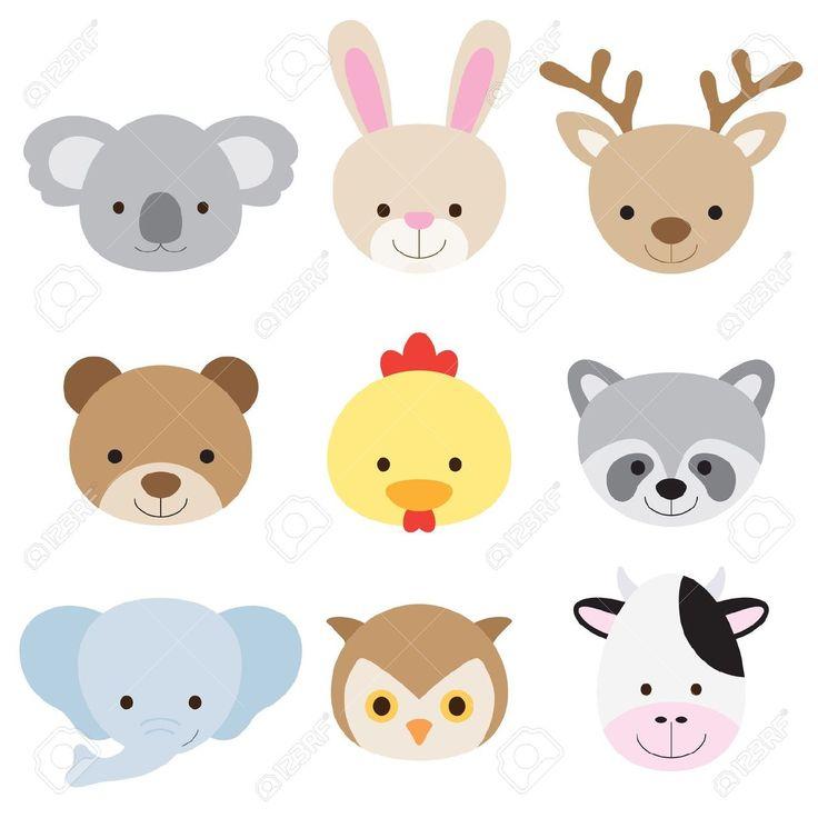 Ilustración vectorial de los animales se enfrenta incluyendo koala, conejo, ciervo, oso, pollo, mapache, elefante, búho, y la vaca
