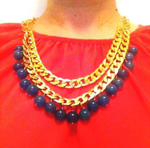 Blue quartz necklace with double chunky by NotYourMomsJewellery, $50.00