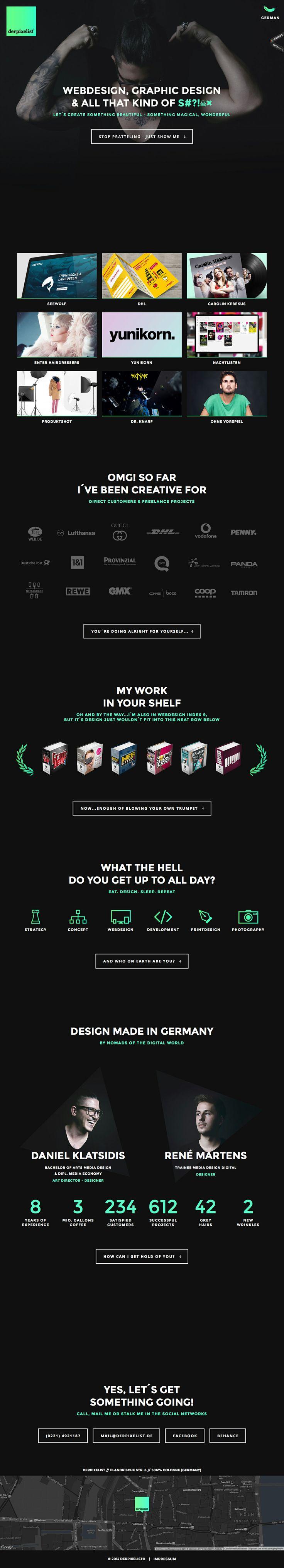 Unique Web Design, Derpixelist (http://derpixelist.de) #WebDesign #Design (http://www.pinterest.com/aldenchong/)