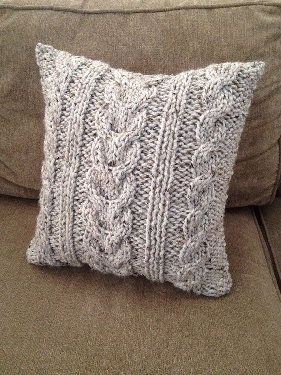 Chunky Cable Knit Pillow by DeLaCustomBoutique on Etsy, $35