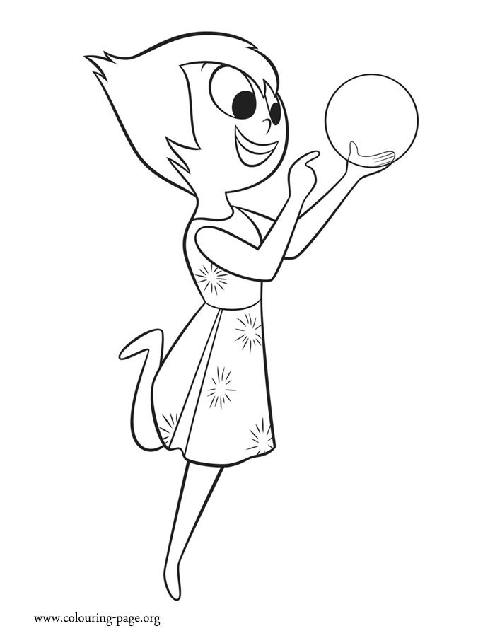 In this amazing picture, Joy is playing with a glowing light. Come check out and have fun with this free Disney Inside Out coloring page!