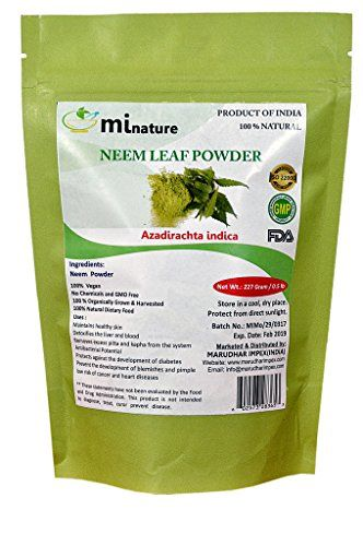 mi nature Neem Leaf Powder (AZADIRACHTA INDICA)/ 100% Pure, Natural and Organic - (227g / (1/2 lb) / 8 ounces) - Resealable Zip Lock Pouch  Neem is one of Ayurveda's most celebrated herbs for the skin. Its bitter flavor makes it very cooling, and it helps to remove excess heat from the body. Neem purifies the blood, supports proper digestion, promotes healing, removes excess heat, and destroys toxins. It has a strong affinity for the lymph, the blood, and the skin.  100% Organic and Na...