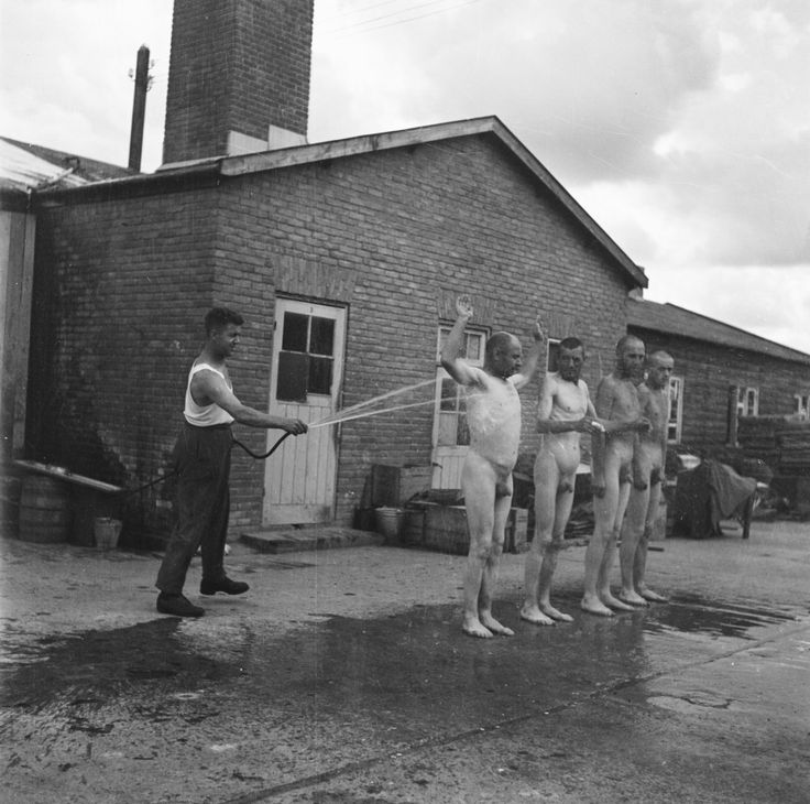A shower for collaborators and war criminals incarcerated in former concentration camp Amersfoort.