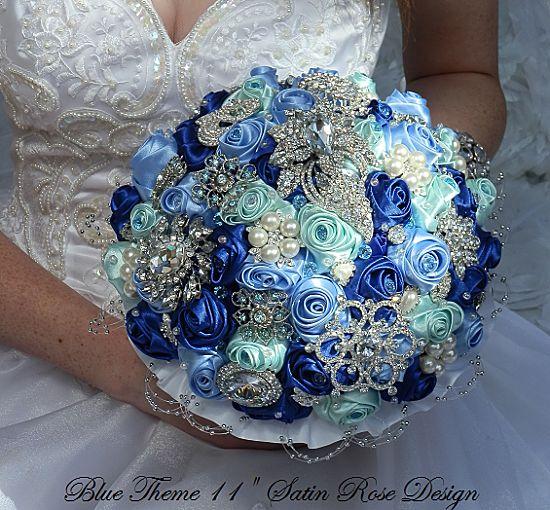 Sapphire Blue Bridal Brooch Bouquet | Custom Made Bridal Brooch ...