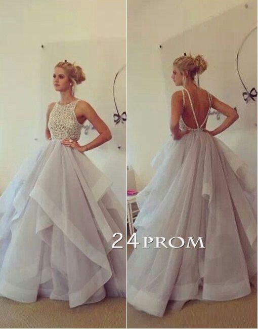 Custom Made Round neckline Tulle Ruffled Long Prom Dress, Formal Dress #coniefox…