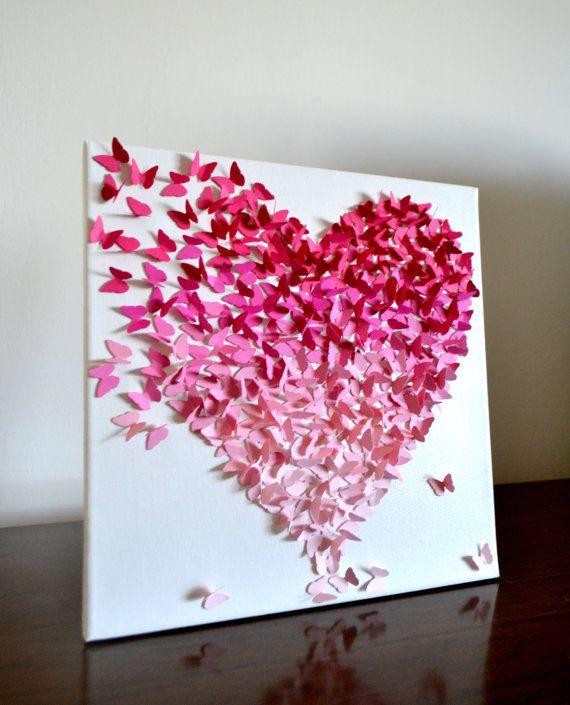 Ombre de rosa 3D mariposa clásico corazón - hecho por encargo  Muchas muchas mariposas en hermosos tonos rosados vienen juntos en vuelo para formar un