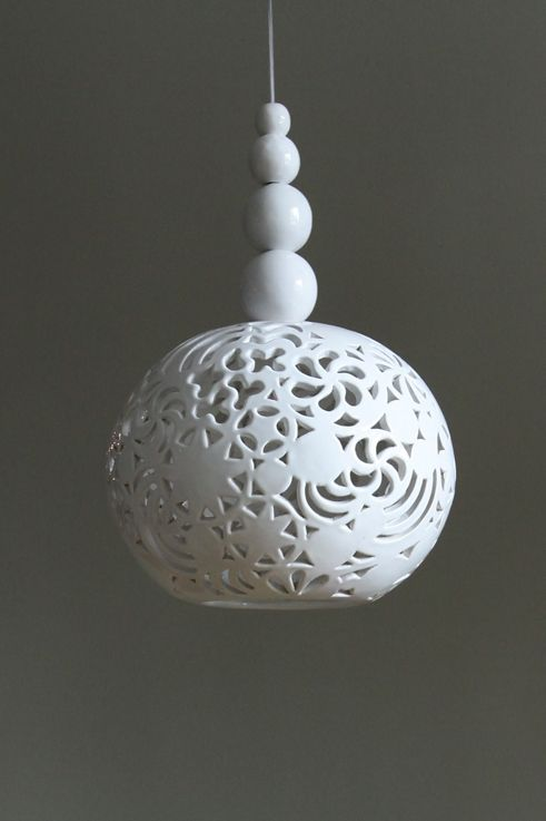 "ceramic lamp ""WHITE DREAM "" design by  joanna bylicka"