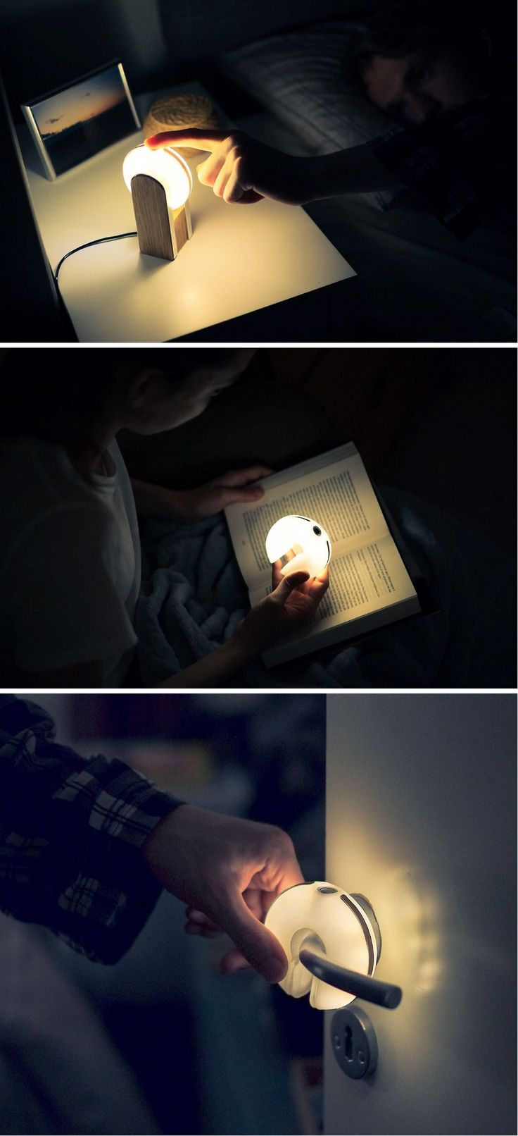 Donut shape ambient light that can even dock on railings or handles.