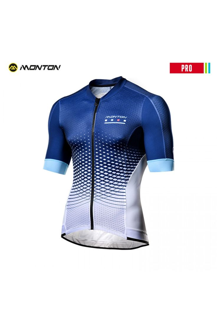 Blue and white cycling jersey