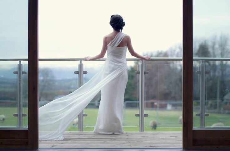 """Aphrodite"" wedding dress in silk and chiffon with pearl bead details by Esther Catherine. Gavin Butler Photography Braw Brides Woodland shoot"